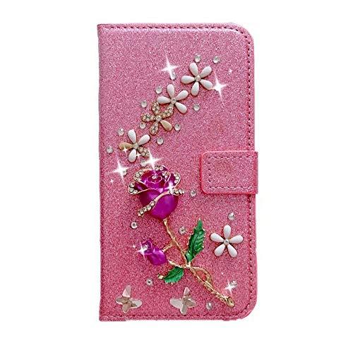 Funda para Samsung Galaxy A31, con purpurina de piel sintética con piedras brillantes, hebilla de diamante y absorción de golpes, delgada, con función atril, cierre magnético, color rosa