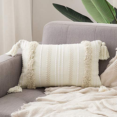MIULEE Decorative Throw Pillow Cover Tribal Boho Woven Tufted Pillowcase with Tassels Super Soft Pillow Sham Cushion Case for Sofa Couch Bedroom Car Living Room 12X20 Inch Cream White