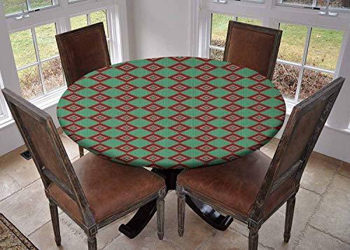 Ronde tafelkleed keuken decoratie, tafelblad met elastische randen, Kleurrijke Rhombuses met SierChevron Patroon Breien Effect Tribal Design Multi kleuren, Bruiloft tafelkleed