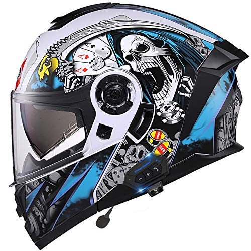 LNSOO Casco de Motocicleta Tipo Flip-Bluetooth, ciclomotor Modular Certificado por el Dot, Casco Completo, Respuesta Musical, teléfono, Locomotora, Crucero, helicóptero, Viajes al Aire Libre