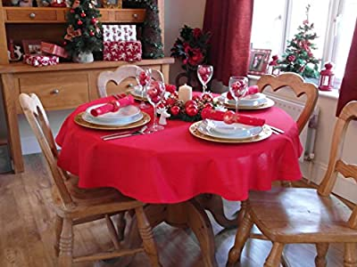 """Christmas Red Round Tablecloth 55"""" Diameter (4 Seater)"""