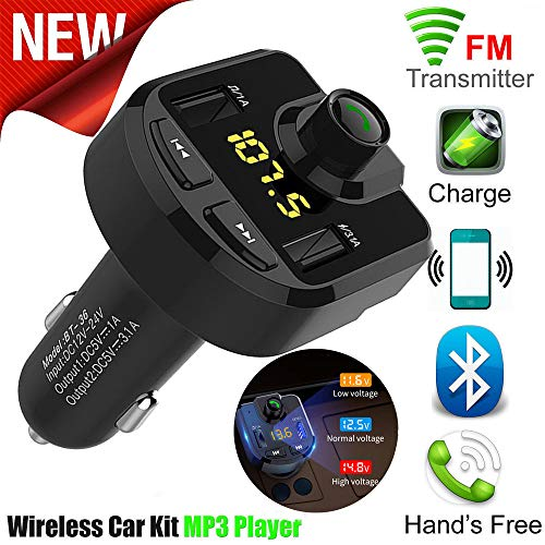 AmyGline Bluetooth Car Kit FM Transmitter Wireless LED Touch Multifunktionale Dual USB Ports Autoladegeräte MP3-Player
