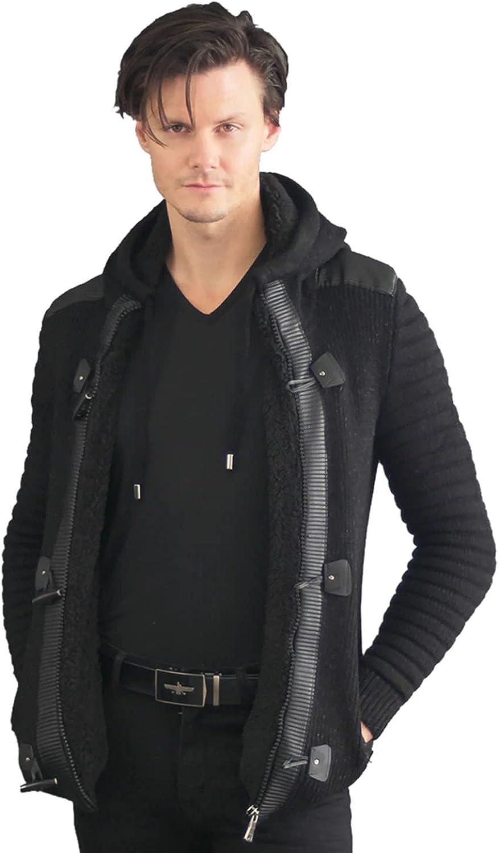 Barabas Men's Hooded Button Closure Cardigan Sweater wz253