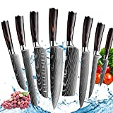 Kitchen Chef Knife Sets,8 Pieces Professional High Carbon Stainless Steel Chef Knives, Pakkawood Handle,3.5-9 Inch Ultra Sharp Cooking Knife for Vegetable Meat Fruit