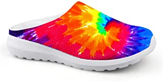 AXGM Men's Slippers Mesh Clogs Mules Beach Shoes Rainbow Graffiti Strudel Graphic Lightweight Slipper Man Casual Shoes Clo...