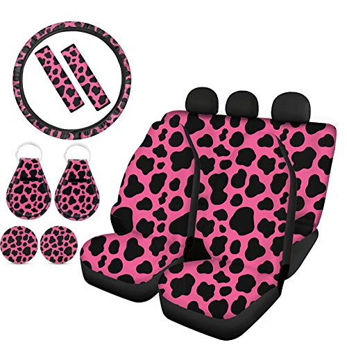 Goyentu Pink and Black Cow Print Car Accessories Full Set Car Front Rear Seat Covers with Elastic Steering Wheel Cover Seatbelt Pads Car Cup Holder Coaster Auto Key Chains Universal Fit for Women