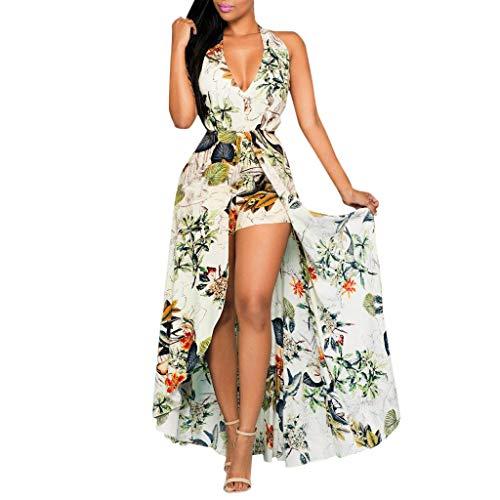 Womens Halter V Neck Floral Party Split Maxi Romper Dress Fashion Sleeveless Split Floral Jumpsuit (XL, Multicolor)
