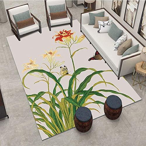 VitaLity Teppich für Schlafzimmer Wohnzimmer Boden Sofa Stuhl,Rechteckiger Blumenmuster-Retro-Teppich,Teppich Anti Rutsch Unterlage 50X80cm