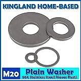 Ochoos 20mm Hole Plain Washers 304 Stainless Steel Flat Machine Washer Plain Washer - (Inner Diameter: 20X34X3 X 10 PCS)