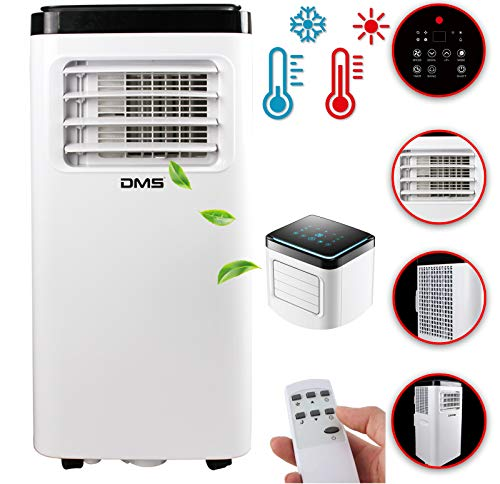 DMS® - Klimaanlage Mobiles Klimagerät 4in1 kühlen, Luftentfeuchter Heizung Ventilator - 8000 BTU/h (2.000 Watt) - Klima mit Montagematerial, Fernbedienung und 24h Timer Nachtmodus EEK: A Weiß MKH-8000