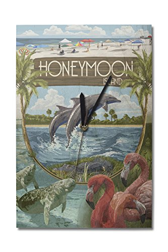 Lantern Press Honeymoon Island, Florida - Montage (10x15 Wood Wall Clock, Decor Ready to Hang)