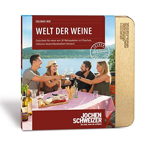 Jochen Schweizer Erlebnis-Box 'Welt der Weine', 30 Weinpakete, je inkl. 6 Flaschen Wein, Weinverkostung zu Hause, Geschenkidee, Weihnachten