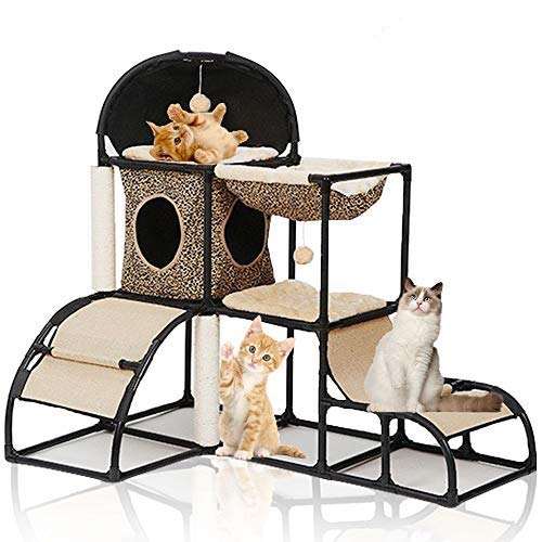 LBLA Árbol para Gato torre de escalada, Estructura robusta, arena para gatos, hamaca, bola colgante, rascador para gatos