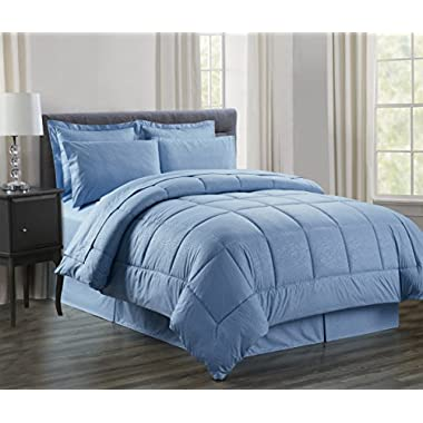 Sweet Home Collection 8 Piece Bed In A Bag with Vine Comforter, Sheet Set, Bed Skirt and Sham Set, Slate Blue, Queen