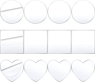 12 Feuilles Acrylique Transparentes 4 Pouces Disque Acrylique Circulaire Panneau Acrylique Forme Rond Coeur Carré 1/16 Pou...