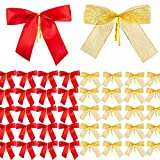 MELLIEX 50 Pièces Noeuds de Ruban de Noël Noeuds Sapin de Noël Arbre de Noël Bowknot pour Arbres de Noël, Couronnes, Fournitures d'emballage de Cadeau de Noël
