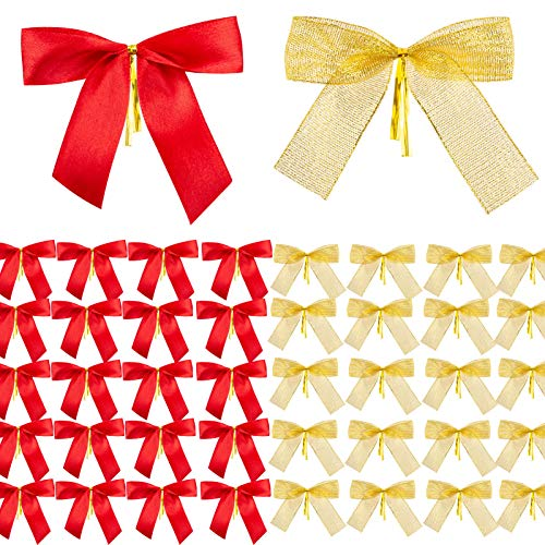MELLIEX 50 Stück Ornamente Weihnachten Schleifen, Gold Rot Band Bogen Weihnachtsbaum, Weihnachtskranz, Geschenk Dekoration (9 x 9cm)