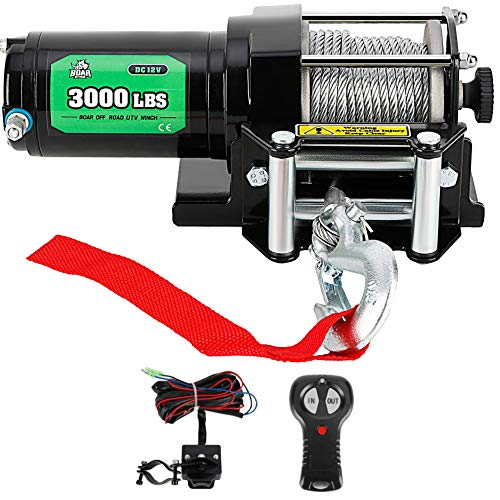 3000LB. Load Capacity Electric Winch Kit for ATV/UTV with Wireless Handheld, OFF ROAD BOAR 12V Powersports Winch with Wireless Handheld Pemote and Wired Handle(Steel Cable)