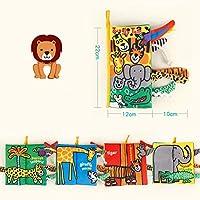 ACHICOO 布のおもちゃ 知育 漫画 クリエイティブ 3D動物 尾の形 布の本 パズルのおもちゃ 赤ちゃん ジャングルの野生動物