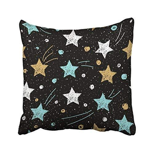 Funda de almohada decorativa para el hogar, 18 x 18 cm, diseño de estrella dorada, azul y blanco, abstracto infantil, para Navidad, Año Nuevo, ropa, fundas de cojín cuadradas decorativas para sofá, accesorio para el hogar