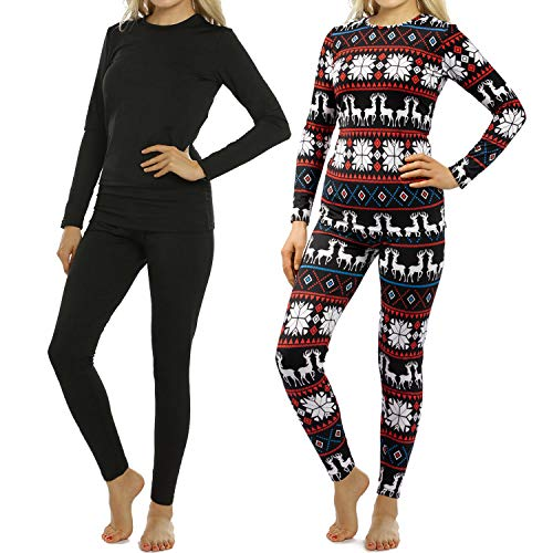 Womens Thermal Underwear Set Long Johns with Fleece Lined 2 Sets Ultra Soft Top & Bottom Base Layer Thermals for Women Black and Christmas Black & Christmas Medium