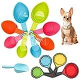 set di 4 cucchiai dosatori per animali (plastica e silicone), cucchiai dosatori colorati rimovibili, cucchiaio dosatore per cani, gatti, uccelli o cucine; dosatore (multicolore)