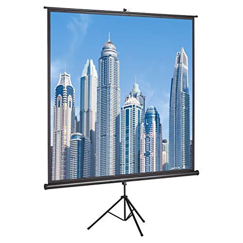 Amazon Basics – Projektor-Leinwand, 113 Zoll (287 cm), Stativ-Serie, 4K/8K Ultra HDR 3D Ready (1:1)