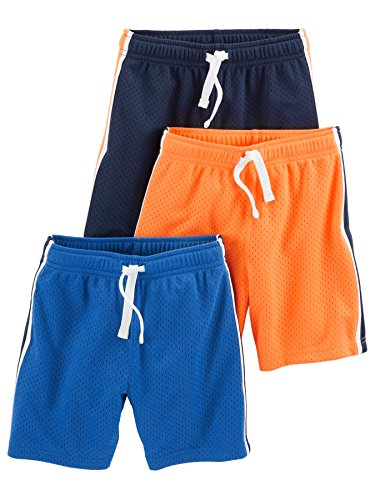 Simple Joys by Carter's Baby Boys' Toddler 3-Pack Mesh Shorts, Blue, Orange, Navy, 5T