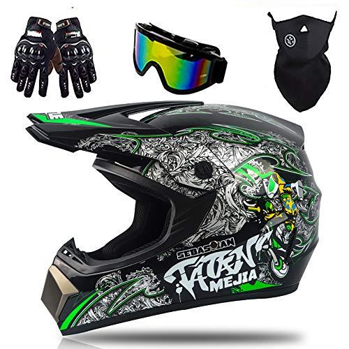 Tanamy Motocross Crash Helmet, Adultos Cara Completa Motocicleta Off Road DH MTB...