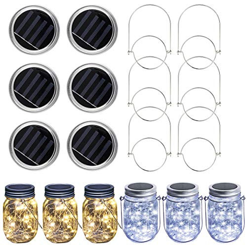 Solar Mason Jar Lid String Lights, 6 Pack 30 LED Waterproof Fairy Firefly Jar Light with 6 Hangers for Mason Jar Patio Garden Wedding Lantern (3 Warm White and 3 Cool White, Jars Not Included)