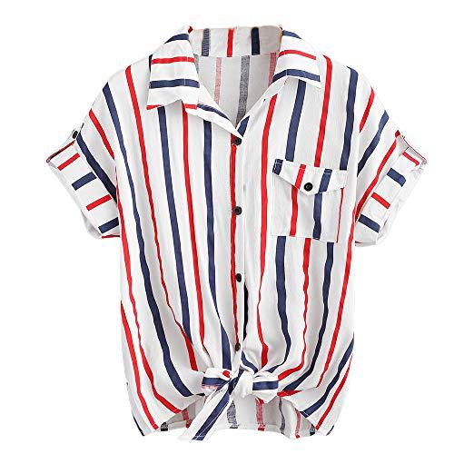 ✿✿JiaMeng Bunt gestreift drucken t-Shirt Damen Elegant Outdoor blusen Mode Büro Baggy Oberteile Casual Sommer Strand Tops