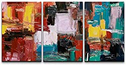 687045d89ac 3 Piece Canvas Wall Art – Abstract Painting – Modern Home Decor Stretched  and Framed Ready to Hang