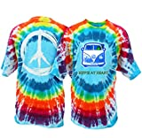 Peace Frogs Hippie at Heart Frog Adult Unisex Tie-Dye Short Sleeve T-Shirt (Bubble Burst, Medium)