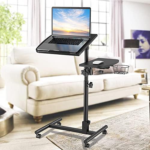 Mesa de ordenador portátil para sofá con ruedas, altura ajustable debajo del sofá, mesa de cama de hospital sobre silla, mesas de cama para minusválidos, ruedas con cerradura, negro mate