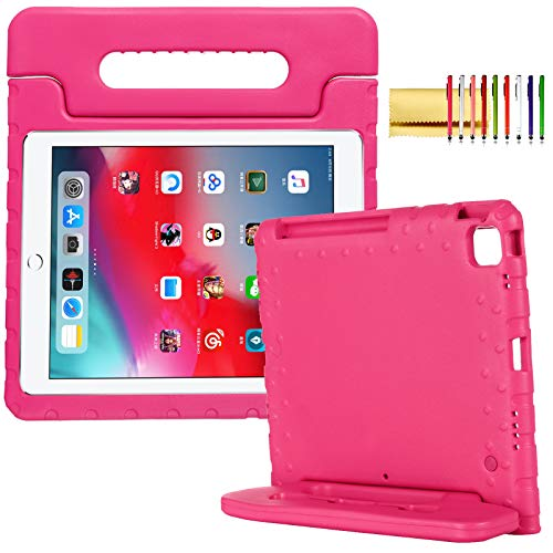 Kids Case for iPad Pro 11-inch (2nd Generation) 2020, Techcircle [Support Pencil Charging Mode] Handle Stand Lightweight EVA Foam Bumper Protective Rugged Drop Protection Child Proof Cover, Rose