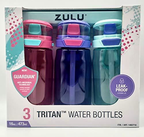ZULU 3 Tritan Water Bottles Flex 3 Pack Pink,Purple and Mint 16 OZ