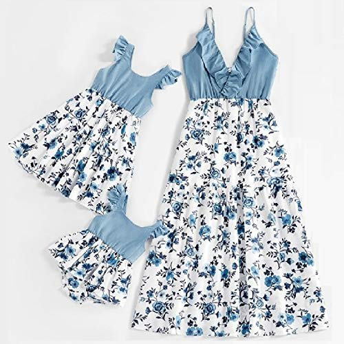Robe Mère Et Fille Assortie - Dentelle Sans Manches Sling Tank Flower Mother Daughter Dresses Family Matching Outfits Mommy And Me Clothes For Mom Mum Women Girls Dress Look Ladies,Blue,Girl 8,9Y