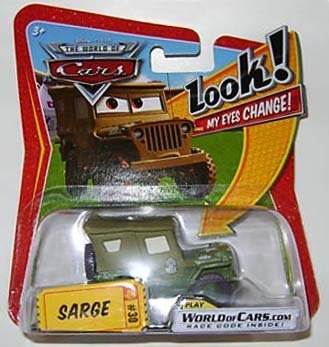 Mattel Disney/Pixar Cars, The World of Cars, Lenticular Eyes Series 1 Die-Cast, Sarge #30, 1:55 Scale by