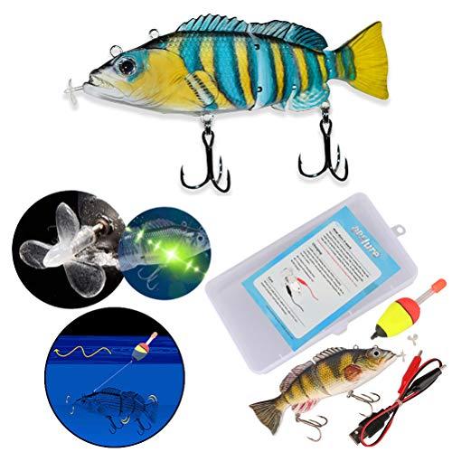 BSTEle Elektrischer Angelköder, Elektrisch Wobbler Kunstköder USB Aufladen 3D Bionischer Köder Kurbelköder für die meisten Fischarten