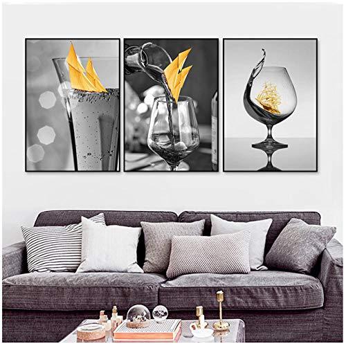 Modern zwart wijnglas met bootmuur canvas schilderij foto posters en prints galerij restaurant huisdecoratie 40x60cmx3 (randloos)