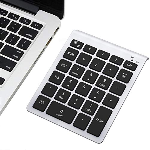 Bluetooth Number Pad, 10 Keys Numeric Keypad - Lekvey Portable Wireless Bluetooth Keypad : 28-Key Numpad Extensions for Financial Accounting Data Entry for Laptop Surface Pro Tablets Windows, Silver