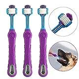 onebarleycorn -3 Pack Cepillo de Dientes para Perros para el Cuidado Dental de Las Mascotas, Cepillo de Dientes de Triple Cabeza Peluquería para Mascotas para una fácil Limpieza del Cuidado bucal