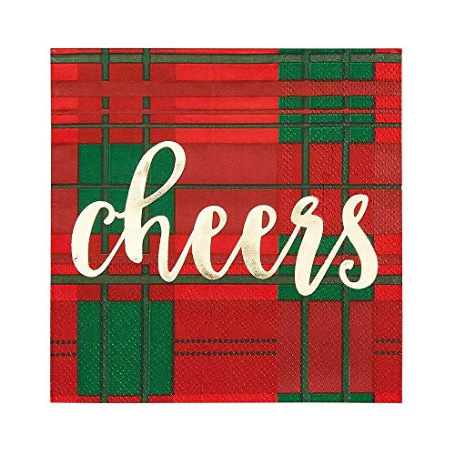 Cheers Plaid Paper Napkins for Christmas Holiday Party Supplies (5 x 5 In, 50 Pack)