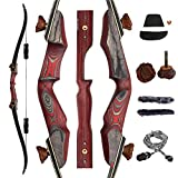 SNOW MONSTER 60' Takedown Archery Recurve Bow with Antler Screws Traditional Outdoor Hunting Longbow Right Hand for Target Practice 30-60Lbs