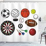 Lunarable Duschvorhang für Jungenzimmer, verschiedene Sportsymbole, verschiedene Spiele, Bälle, Dartscheibe, Hockey-Puck & Pins, Stoff, Badezimmer-Dekor-Set mit Haken, 190,5 cm lang, mehrfarbig