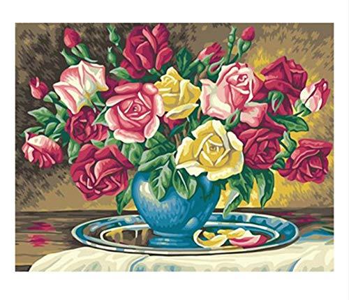 Kleur roze knutselen schilderen op cijfers, bloemen, vaas, olieverfschilderijen, schildersdecoratie, acryl, canvas, moderne muurkunst (16 x 20 inch) 40x50cm Frame