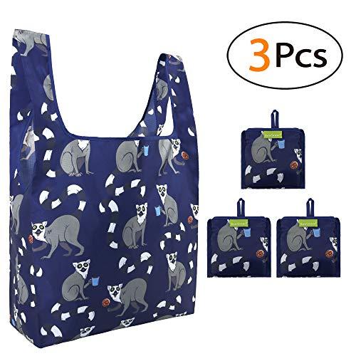 Einkaufstaschen Faltbar Reusable Shopping Bags Groß 3 Stück, Dunkelblau Katta Motive Wasserdicht Ripstop Einkaufstüten, Eco-Friendly Shopper Taschen