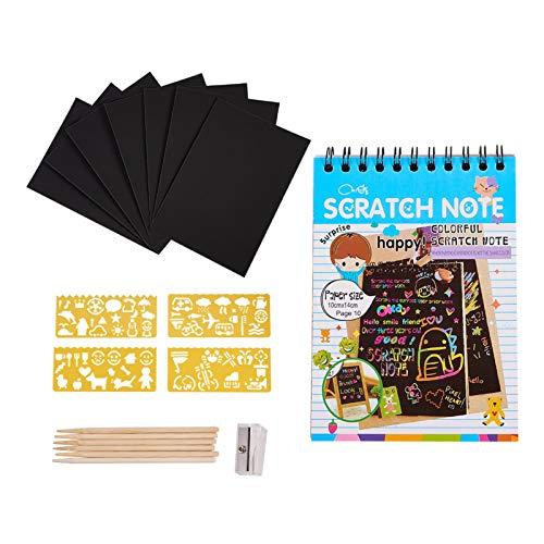 NBEADS Scratch Art, 3 Juegos de Cuaderno para Rascar con Gran Plantilla de Papel de Dibujo Lápiz y Sacapuntas Mini Regalo de Pintura de Arco Iris para Proyectos Escolares Y Viajes Familiares