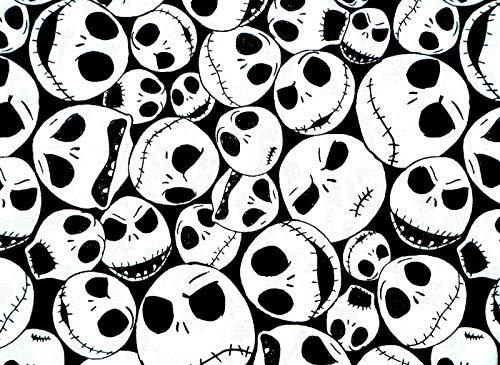Nightmare Before Christmas Jack Skeleton Skull Tim Burton Fabric by The 1/4 Yard Fat Quarter