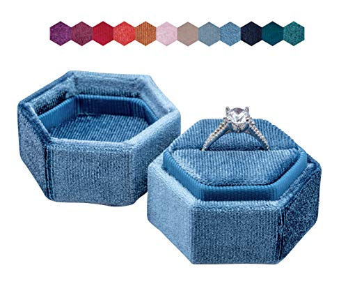 The Lux Box: Gorgeous Antique Velvet Geometric Ring Boxes For Proposals and Wedding Photos || Hexagon and Oval || Single or Double Rings || Fits Slim Bands (French Blue Hexagon Single)